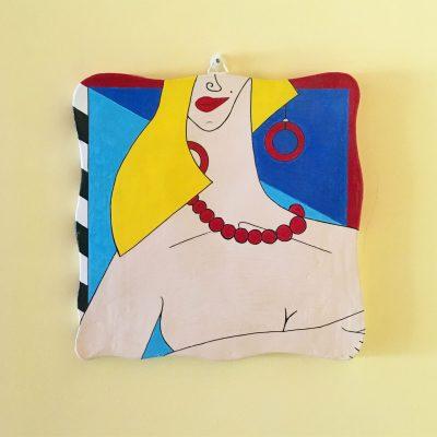 Agnieszka. Acrilico su mattonella di terracotta. 20 cm x 20 cm. 2019.