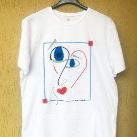 Love is a big 'punto interrogativo'.Maglietta dipinta a mano con marker specifici per tessuti. (1)