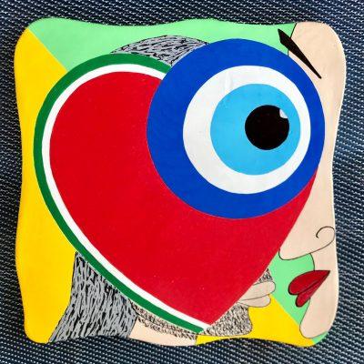 Aşkım. Acrilico su mattonella di terracotta. 20 cm x 20 cm. 2019.