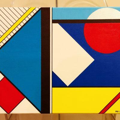 Finestra con tenda bianca. Acrilico su tela. 40 cm x 30 cm x 4 cm. 2018.