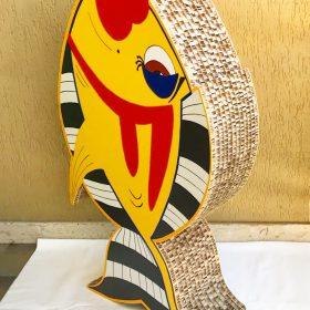 Franco il pesce. Cartonato da rielaborazione digitale di un mio disegno. 98 cm x 55 cm x 20 cm. (2)