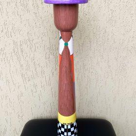 Julia. Statuina da me ideata. Acrilico su legno. h 55 cm. 2020. (lato b)