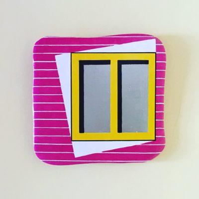 La finestra. Acrilico su mattonella di terracotta. 20 cm x 20 cm. 2017.