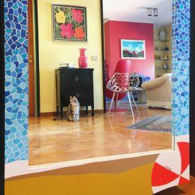 Sapore di mare. Specchio ricavato da un'anta di un vecchio armadio. Acrilico su legno. 180 cm x 80 cm x 5 cm. 2020. (3)
