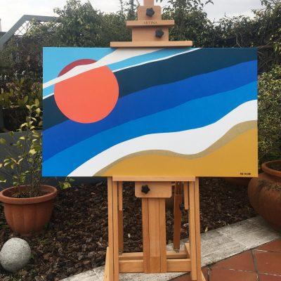 Summer on a solitary beach, again. Acrilico su tela. 100 cm x 60 cm. 2020. (commissione)