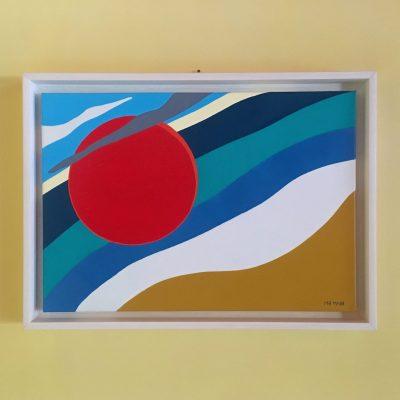 Summer on a solitary beach. Acrilico su tela. 55 cm x 40 cm. 2019. (commissione)